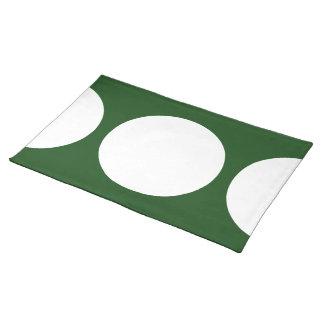 Círculos blancos en verde mantel individual