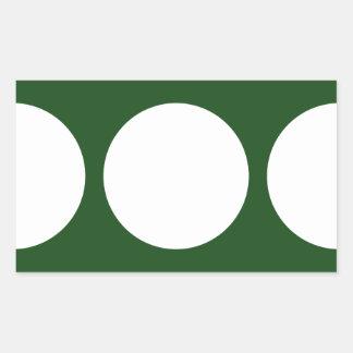 Círculos blancos en verde pegatina rectangular