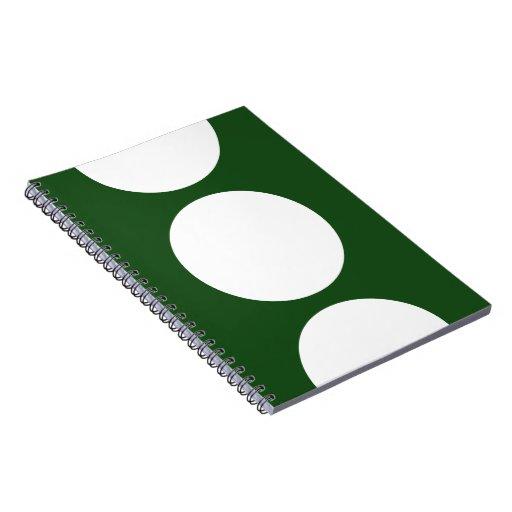 Círculos blancos en verde spiral notebook
