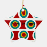 Círculos blancos retros del amarillo del trullo en ornamentos para reyes magos