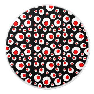 Círculos blancos rojos frescos geométricos pomo de cerámica