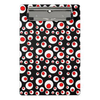 Círculos blancos rojos geométricos de la diversión minicarpeta de pinza