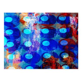 Círculos blancos y azules rojos abstractos postales