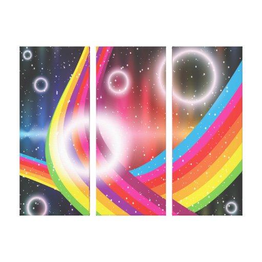 Círculos brillantes lona envuelta para galerías