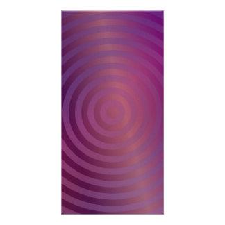 Círculos brillantes púrpuras tarjeta fotografica