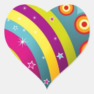 Círculos coloreados del extracto y estrella y arco pegatina corazón