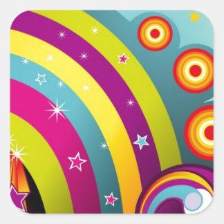 Círculos coloreados del extracto y estrella y arco pegatina cuadradas personalizadas