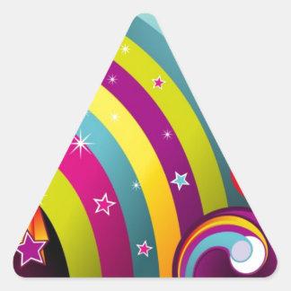 Círculos coloreados del extracto y estrella y arco calcomania triangulo