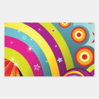 Círculos coloreados del extracto y estrella y arco pegatina rectangular