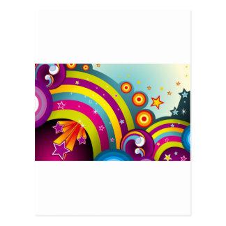 Círculos coloreados del extracto y estrella y arco tarjetas postales