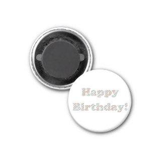 Círculos coloridos del feliz cumpleaños iman de nevera
