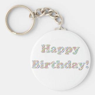 Círculos coloridos del feliz cumpleaños llaveros