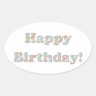 Círculos coloridos del feliz cumpleaños pegatina de oval