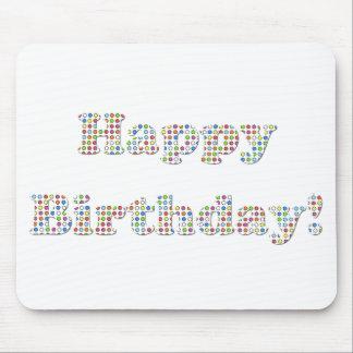 Círculos coloridos del feliz cumpleaños tapetes de ratón