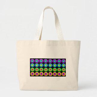 Círculos coloridos enrrollados 3D Bolsa De Tela Grande