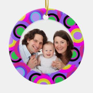 Círculos coloridos/foto adorno navideño redondo de cerámica