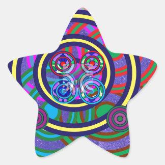 Círculos coloridos redondos del aro de Hula Pegatina En Forma De Estrella