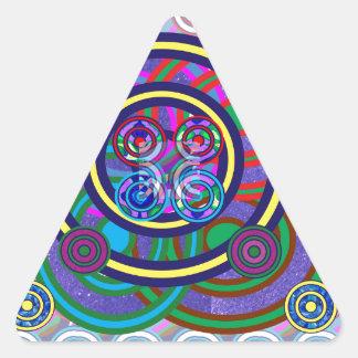 Círculos coloridos redondos del aro de Hula Pegatina Triangular