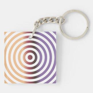 Círculos concéntricos coloridos llavero cuadrado acrílico a doble cara