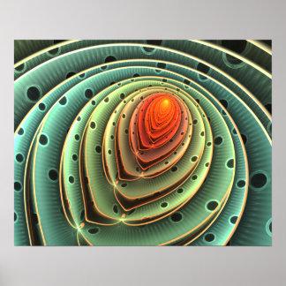 círculos concéntricos de la llama anaranjada póster