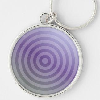 Círculos concéntricos púrpuras metálicos llavero redondo plateado