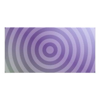 Círculos concéntricos púrpuras metálicos tarjetas con fotos personalizadas