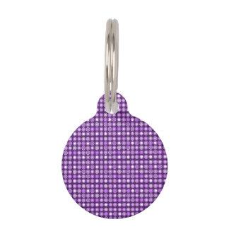 Círculos concéntricos púrpuras retros placa de mascota