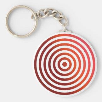 Círculos concéntricos rojos llavero redondo tipo pin