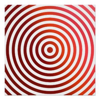 Círculos concéntricos rojos perfect poster
