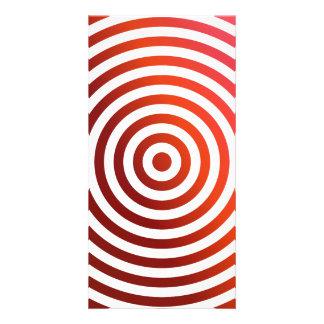 Círculos concéntricos rojos tarjetas con fotos personalizadas