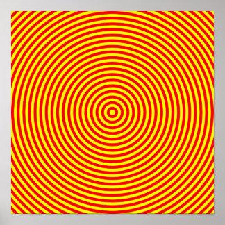 Círculos concéntricos rojos y amarillos póster