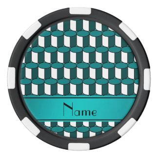 Círculos conocidos personalizados de la turquesa juego de fichas de póquer