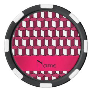 Círculos conocidos personalizados del rosa 3d juego de fichas de póquer