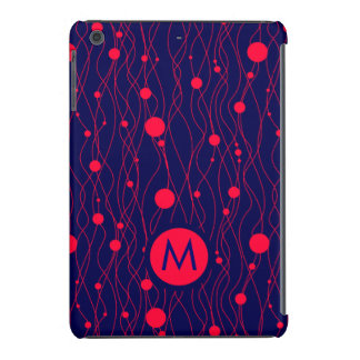Círculos coralinos y líneas rojos de Monogramed y Funda Para iPad Mini Retina