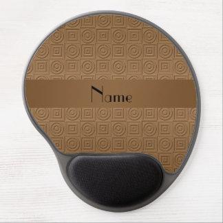 Círculos cuadrados marrones conocidos personalizad alfombrilla con gel