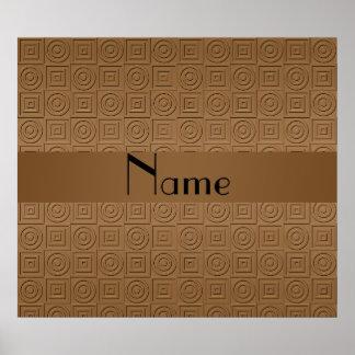 Círculos cuadrados marrones conocidos personalizad impresiones