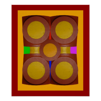 Círculos de 1-Print amarillo Posters