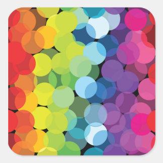 Círculos de arco iris calcomanías cuadradas personalizadas