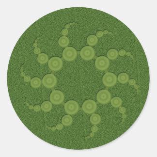 Círculos de la cosecha del UFO Pegatinas Redondas