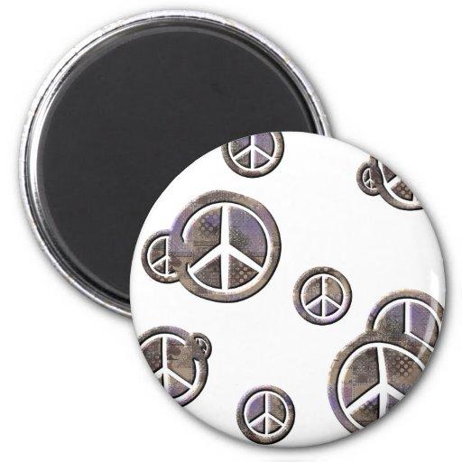 Círculos de la paz imán redondo 5 cm