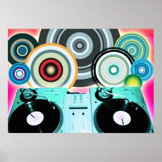 Círculos de la placa giratoria de DJ Póster
