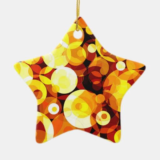 Círculos de la puesta del sol adorno navideño de cerámica en forma de estrella