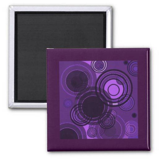 Círculos de la púrpura de Abstact Imanes De Nevera