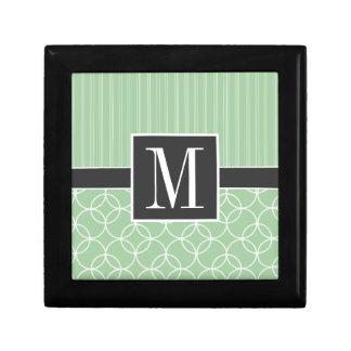 Círculos de moda de la verde salvia caja de joyas