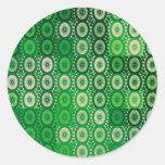 Círculos del arte verde y blanco de Digitaces Etiquetas Redondas