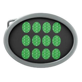 Círculos del brillo del verde de la hebilla del ci hebilla cinturón oval