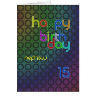 Círculos del cumpleaños para el sobrino envejecido tarjeta