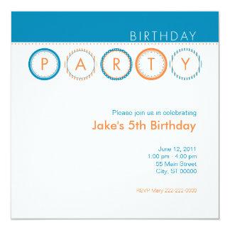"""Círculos del fiesta - azul y naranja invitación 5.25"""" x 5.25"""""""