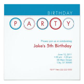 """Círculos del fiesta - azul y rojo invitación 5.25"""" x 5.25"""""""