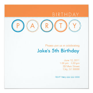"""Círculos del fiesta - naranja y azul invitación 5.25"""" x 5.25"""""""